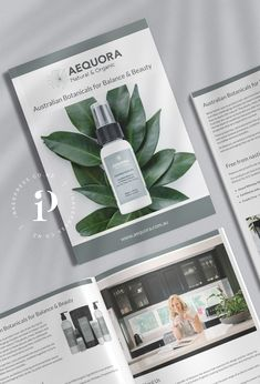 Wholesale catalogue, look book print layout design for skin care company Aequora Natural and Organic by Inkee Press