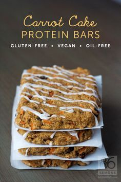 Combine the yummy flavor of carrot cake with the benefits of protein and going dairy free. These Carrot Cake Protein Bars are vegan, gluten-free, oil-free. Vegan Protein Bars, Protein Snacks, Vegan Snacks, Vegan Desserts, Vegan Recipes, Cooking Recipes, High Protein, Sugar Free Protein Bars, Protein Bar Recipes