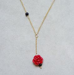 Thin  gold chain necklace with coral rose sterling gold by Akatos, $35.50