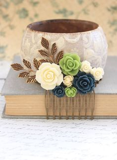 Floral Bridal Hair Comb Green and Navy Blue by apocketofposies