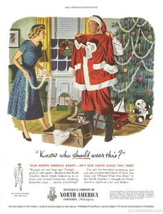 Vintage Christmas Ad ~ North America Insurance