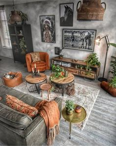 I love the vibrant color mix with this industrial styled living room! What do y… - Matha Linkovich Boho Living Room, Living Room Decor, Bedroom Decor, Bedroom Wall, Living Room Sets, Home Interior Design, Interior Decorating, Deco Design, Living Room Designs