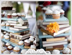 Cedar House Photography--our wedding photographer. Some of our DIY elements. Got a discarded encyclopedia set from the local library and used it to display our cupcakes. Wrapped some plywood boards in colorful paper, added some flowers, and our cake table was set!