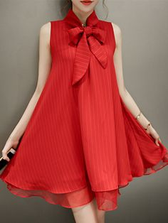 Red High Neck Bow Front Fine Stripe Print Two-layer Ruffle Dress | abaday