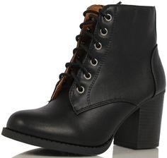 Amazon.com: Soda Women Korman Cute Chunky Lace Up Leatherette Zipper Ankle Bootie: Shoes