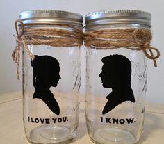 I love you. I know. STAR WARS INSPIRED. 24Oz Mason by KissMade, $10.00