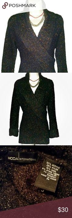 Moda Sweater Black Moda sweater w/ bronze color metallic thread. Sleeves are cuffed in pic. Good condition. Moda International Sweaters