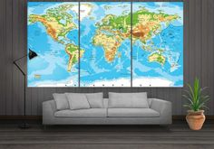 Large World Map Canvas for Office Wall Decor of by CanvasFactoryCo Office Wall Decor, Office Walls, Large World Map Canvas, Wall Art Prints, Canvas Prints, House Floor Plans, Flooring, Etsy, Artwork