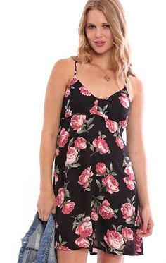 Deb Shops Rose Print Slip Dress with Cross Back $20.25