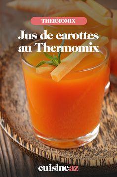 Sans centrifugeuse mais avec le Thermomix vous pouvez réaliser un excellent jus de carotte. #recette #cuisine #jus #carotte #robotculinaire #thermomix Cantaloupe, Shot Glass, Robot, Fruit, Tableware, French Recipes, Carrots, Cooking Recipes, Drinks