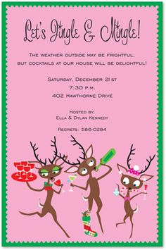 Party Deer Friends Invitation Christmas Party Invitations