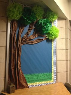 Year long bulletin board. Trunk made from brown butcher paper. Leaves made from…