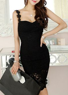 Sexy Spaghetti Strap Black Sheath Dress