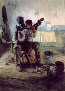"""The Banjo Lesson"" Henry Ossawa Tanner. Tanner was the first African American painter to gain international acclaim."