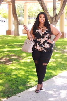 Plus Size Fashion - Dark Summer Florals