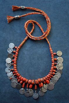 Beautiful antique Moroccan coral combined with old Moroccan coins  By Carla Alicata.