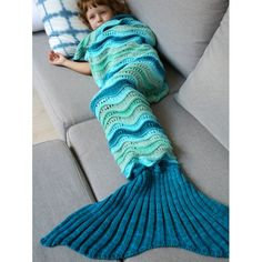 $16.90 Knitted Open Work Color Splicing Mermaid Blanket For Kid