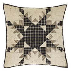 """Complete your Dean quilted bedding with one or two of our Dean Quilted Euro Sham 26x26""""""""! https://www.primitivestarquiltshop.com/products/dean-quilted-euro-sham-26x26 #primitivecountrybedroomsbeddingandaccessories"""