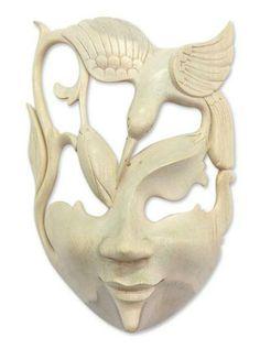Wood mask, 'Lotus and Hummingbird' by NOVICA
