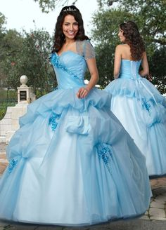 Ball Gown Sweetheart Ruffled Beading Organza Floor-length Quinceanera Dress at sweetquinceaneradress.com
