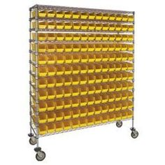 High-Density Mobile Wire Bin Shelving by C $1104.00. Mobile wire storage system features QUANTUM shelf bins.