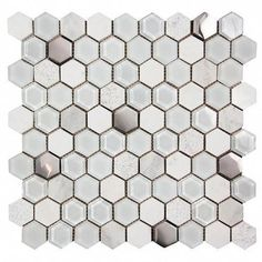 Hexagon White Mosaic Glass Tile is part of painting Glass Tile - Try Hexagon White Glass, Stone and Metal Tile Hexagon white tile features glass, stone and metal Great option for kitchen remodels, backsplashes and bathroom walls White Glass Tile, Beige Glass Tiles, Bathroom Feature Wall, Mosaic Glass, White Interior Design, White Hexagon Tiles, Glass Mosaic Tiles, White Stone Tiles, Hexagon