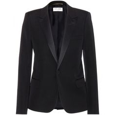 Saint Laurent Wool Blazer ($2,475) ❤ liked on Polyvore featuring outerwear, jackets, blazers, tops, coats, black, black wool blazer, black wool jacket, black jacket and wool jacket
