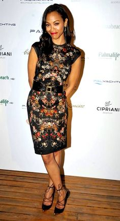 Zoe Saldana wearing an Alexander McQueen Pre AW13 floral print dress, black belt & lace up pointy pumps to the Palmarina Bodrum opening night in Turkey, 22nd June 2013