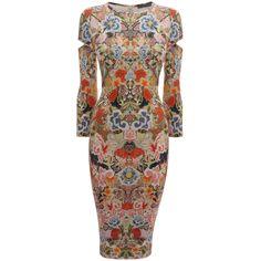ALEXANDER MCQUEEN|Dresses|Patchwork Floral Slash Sleeve Pencil Dress