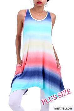 Sleeveless A-Line Multi Ombre Print Dress with Pockets