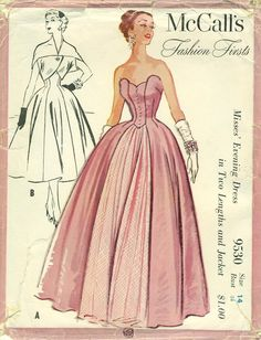"Copyright 1953 ""Bouffant, yet fitted, this full length or short evening dress is a dream. The front panel of the long version is separate so it can be interpreted many ways. The brief jacket is in one piece - so easy to make, so effective when worn! The long and short of it ... a flattering style that can be made in many fabrics! For you who need a wedding attendant dress - pretty but practical - wear the dress with the jacket for church. When you remove the jacket you will have a…"