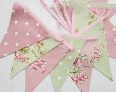 Fabric Bunting Shabby Chic Style Flowers and Dots Pink Sage Green 12 double sided flags Wedding, Christening, Baby Shower, Birthday Decor Bodas Shabby Chic, Shabby Chic Bunting, Cocina Shabby Chic, Shabby Chic Mode, Shabby Chic Stil, Shabby Chic Kitchen Decor, Shabby Chic Interiors, Shabby Chic Living Room, Shabby Chic Bedrooms