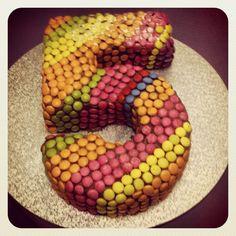 Number 5, chocolate, smartie birthday cake