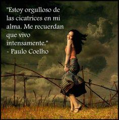 """""""Estoy orgulloso de las cicatrices en mi alma. Me recuerdan que vivo intensamente""""   - Paulo Coelho"""