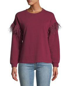 40eca69a46 TXR54 Free Generation Ostrich Feather-Sleeve Drop-Shoulder Pullover