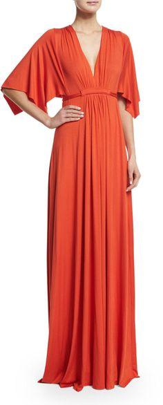 Rachel Pally Solid V-Neck Caftan Dress, Caliente, Women's