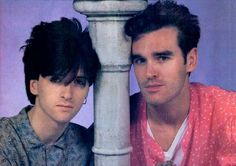 """Johnny Marr & Morrissey from The Smiths in the English Magazine:""""Record Mirror"""" Scanned from my personal archives, retouched, recomposed: Olivier Daaram Jollant English Magazine, The Smiths Morrissey, Johnny Marr, Bon Scott, Charming Man, Sounds Good, Him Band, Post Punk, Will Smith"""