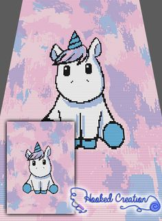 Chibi Unicorn Mini C2C Twin Blanket Crochet Pattern - PDF Download