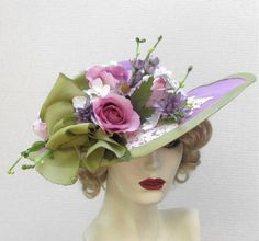 Garden Tea Party Hat in Shabby Chic Lilac Flowers Lace- $215.00