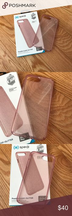 iPhone 7 plus rose gold protective clear case New in box protective clear glitter case. Gorgeous look speck Accessories Phone Cases