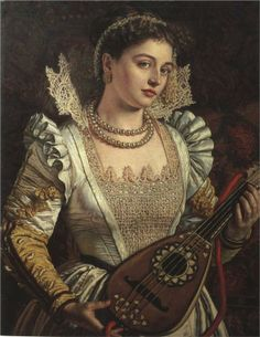 """Bianca,"" William Holman Hunt - WikiPaintings.org. Interesting to see the Renaissance dress through the Late Victorian eye"