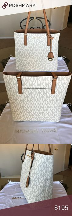 NWT! Mk Large Morgan Tote Vanilla signature tote with gold hardware. Brand new with tags. Authentic. Measures approx: 13x13x6. Does not include Dustbag. No trades! Open to reasonable offers through the offer button Michael Kors Bags Totes