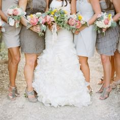 Mismatched neutrals are one of this year's most wearable trends - your girls will really love you for this one! (Pic via Southern Weddings)