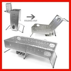 PORTABLE FOLDING QUICK START BARBECUE GRILL HIBACHI BBQ