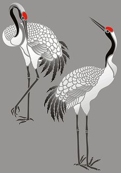 Large Standing Cranes Stencil - Henny Donovan Motif CRANE – The Bestiaries tell us that cranes gather together every night to sleep. While the group sleeps, one crane Japanese Painting, Chinese Painting, Chinese Art, Japanese Art, Japanese Crane, Bird Stencil, Stencil Art, Stencils, Damask Stencil