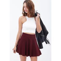 Forever 21 Women's  Matelass Skater Skirt ($14) ❤ liked on Polyvore featuring skirts, burgundy, skater skirts, elastic waist circle skirt, forever 21 skirts, burgundy circle skirt and burgundy skirt
