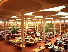 "Johnson Wax Building Headquarters Building, designed by Frank Lloyd Wright in the 30s (1936 to 1939) This is the Interior, ""Great Workroom"