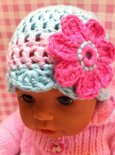 Baby girls crochet beanie By by KerryJayneDesigns on Etsy