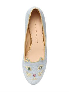 Charlotte Olympia bejewelled kitty loafers