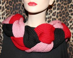 Hand made knitted women braid cowl hood infinity scarf neck warmer snood shawl £15.00